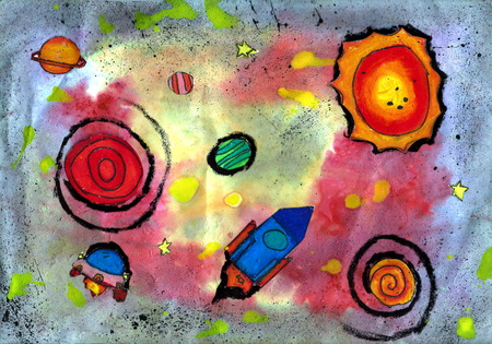 Outer Space - a kids painting using texture printing techniques, drawn by a 7-year-old artist on 5th August 2016.