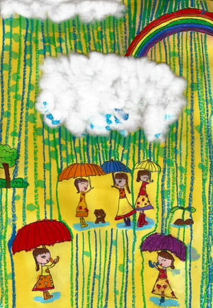 Rain - a kids painting using  chalk and watercolor techniques, drawn by a 7-year-old artist on 8th October 2016