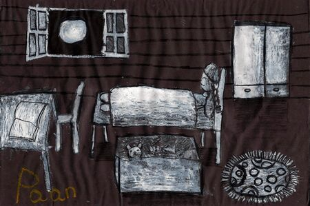 30th: Night - a kids painting using chalk techniques on black paper, drawn by a 7-year-old artist on 30th May 2015