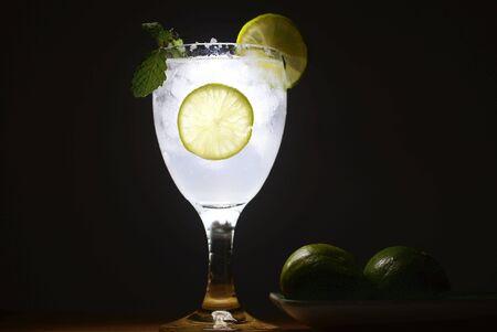 lemonade cocktail in the brighten glass.