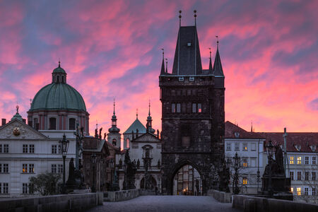 Charles Bridge at red dawn in Prague photo