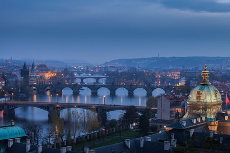 point of view: View of evening Prague from the high point, view of the bridge over the Vltava River