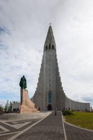 Church  Hallgrimskirkja and statue of Lief Erikson in Reykjavik? Iceland Editorial