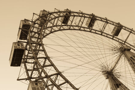 prater: Old ferris wheel in Prater park in Vienna, sepia Editorial