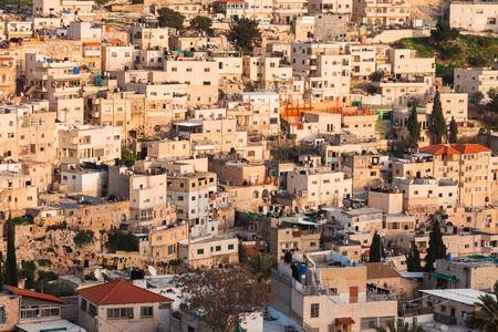 jewish home: Arab homes on the hillside of Mount of Olives in Jerusalem, Israel Stock Photo