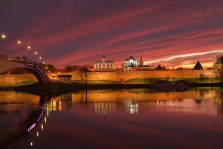 novgorod: Veliky Novgorod city at sunset, Russia