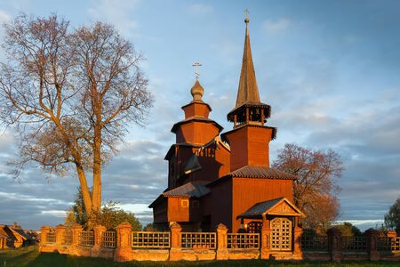 evangelist: Church of St. John the Evangelist on Ishna at sunset, Russia
