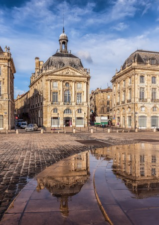 ancient buildings: Place de la Bourse in  Bordeauxe, France