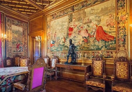 french renaissance: PAU, FRANCE - SEPTEMBER 02, 2012: Interior of Pau Castle. King Henry IV of France and Navarre was born here on December 13, 1553 Editorial