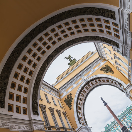 Arch of General Staff Building and Alexander Column in Saint Petersburg, Russia