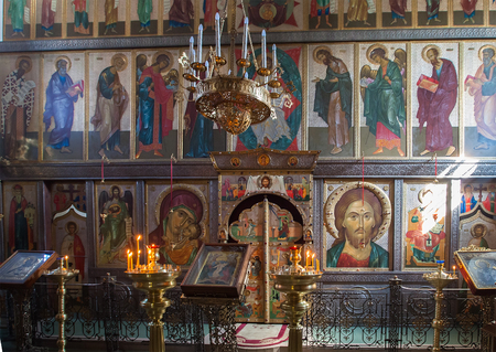 iconostasis: PSKOV RUSSIA APRIL 30 2015: The iconostasis of the Church of St. Basil the Great Russian Orthodox Church