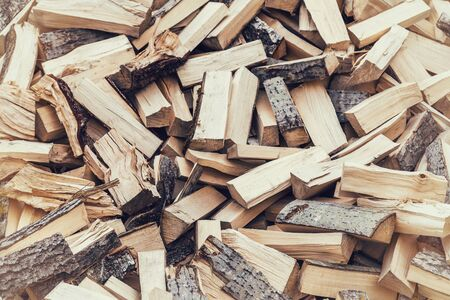 pile of logs: Pile of firewood logs vintage processing Stock Photo