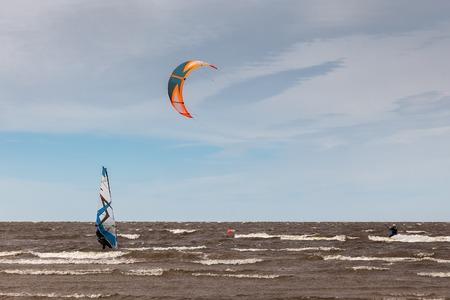 kite surfing: Kite surfing and windsurfing extreme water sport
