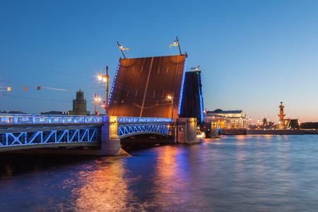 nights: White Nights in St. Petersburg, opened the Palace bridge, Russia Stock Photo