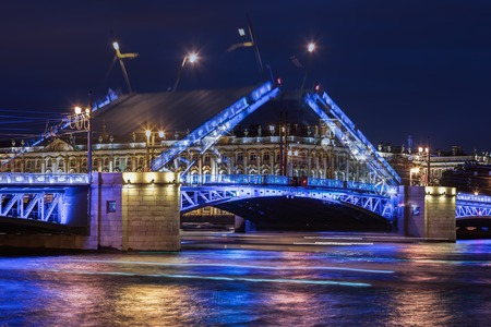 nights: Double exposure, open Palace bridge, white nights in Saint-Petersburg, a view of the Hermitage