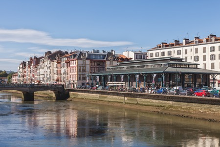 embankment: Buildings at the embankment of Bayonne, France