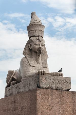 egyptology: Ancient Egyptian sphinx on Universitetskaya embankment of Neva river in St. Petersburg, Russia Stock Photo