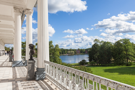 selo: SAINT PETERSBURG, RUSSIA - AUGUST 29, 2015: View from the Cameron Gallery at Catherine Park in Tsarskoe Selo. It was built in 1785 in the Neo-Classical style by Charles Cameron Editorial