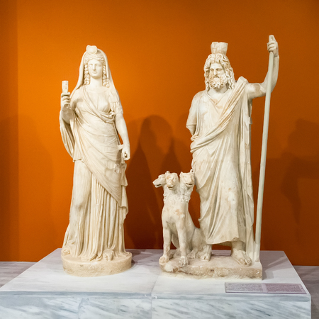 minoan: CRETE, GREECE - JULY 26, 2015: Sculptures in the Heraklion Archaeological Museum, it is contains the most notable and complete collection of artifacts of the Minoan civilization of Crete