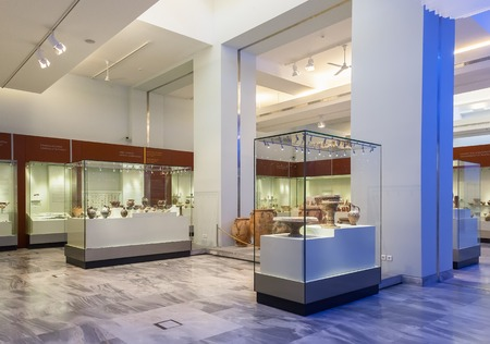 minoan: CRETE, GREECE - JULY 26, 2015: Heraklion Archaeological Museum, it is contains the most notable and complete collection of artifacts of the Minoan civilization of Crete