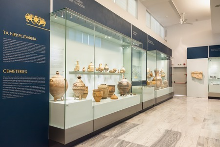 notable: CRETE, GREECE - JULY 26, 2015: Heraklion Archaeological Museum, it is contains the most notable and complete collection of artifacts of the Minoan civilization of Crete