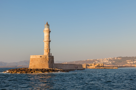 surviving: The famous lighthouse in Chania, Crete, Greece. One of the oldest surviving lighthouse in the world Stock Photo