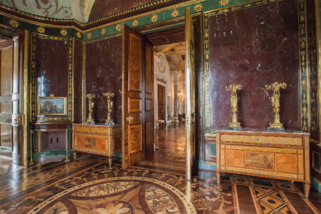 selo: SAINT PETERSBURG, RUSSIA - SEPTEMBER 20, 2015: Interior of Agate Rooms in building old Bath in Tsarskoye Selo Pushkin, Cameron designed for Catherine I in 1780