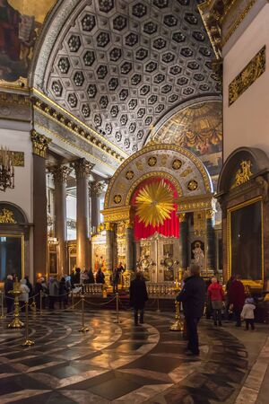 SAINT PETERSBURG, RUSSIA OCTOBER 10, 2015: Interior of Kazan Cathedral (1801 - 1811), which is Russian Orthodox Church dedicated to Our Lady of Kazan, probably the most venerated icon in Russia. Cathedral was modelled by A. Voronikhin