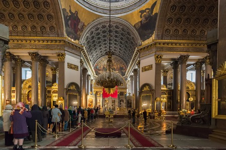 SAINT PETERSBURG, RUSSIA OCTOBER 10, 2015: Interior of Kazan Cathedral 18,011,811, which is Russian Orthodox Church dedicated to Our Lady of Kazan, probably the most venerated icon in Russia. Cathedral was modelled by A. Voronikhin