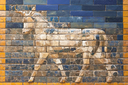 BERLIN, GERMANY - MARCH 06, 2013: One of the aurochs from the Ishtar Gate of Babilon in the Pergamon Museum.  Gate was constructed in about 575 BC Editorial