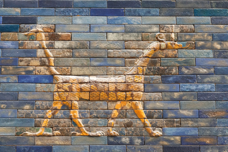 BERLIN, GERMANY - MARCH 06, 2013: One of the dragons from the Ishtar Gate of Babilon in the Pergamon Museum.  Gate was constructed in about 575 BC Editorial