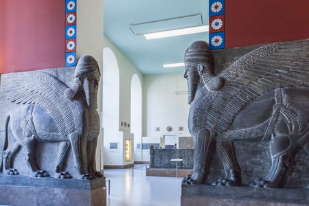 babylonian: BERLIN, GERMANY - MARCH 06, 2013: The guardians in the Pergamon Museum. This is one of the most visited museums in Germany Editorial