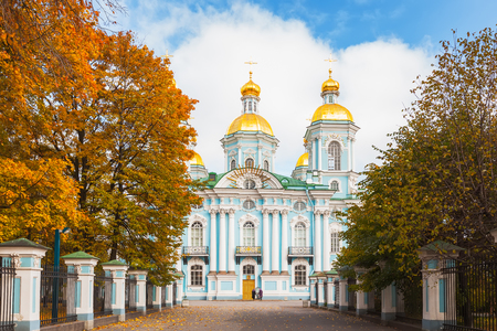 st nicholas cathedral: SAINT PETERSBURG, RUSSIA - OCTOBER 15, 2015: St. Nicholas Naval Cathedral was built in 17531762 to a design by S. Chevakinsky. It is one of a major Baroque Orthodox Cathedral of St. Petersburg