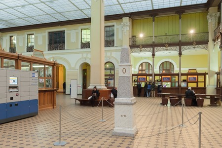 atrium: SAINT PETERSBURG, RUSSIA - OCTOBER 20, 2015: Milestone in the vestibule of the Central Post Office Glavpochtamt, which was built 1782-1789, in 1903 courtyard was turned into glass-covered atrium