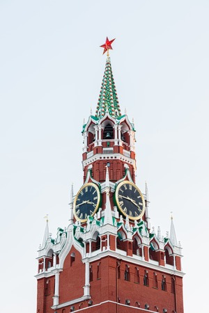 spasskaya: MOSCOW, RUSSIA NOVEMBER 28, 2015: The Spasskaya Saviour Tower is one of tower of the Moscow Kremlin, it was built in 1491. The clock is famous Kremlin chimes
