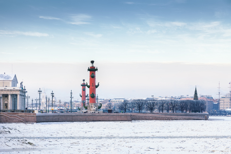 to spit: The Spit of Vasilyevsky Island in Saint Petersburg in winter, Russia Stock Photo