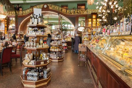 emporium: SAINT PETERSBURG, RUSSIA - APRIL 15, 2016: Interior of Yeliseevs Food Hall. Yeliseyev Grocery Store constructed in 19021903 for the Elisseeff Brothers, located at Nevsky Prospekt. It is one of the landmark of St. Petersburg