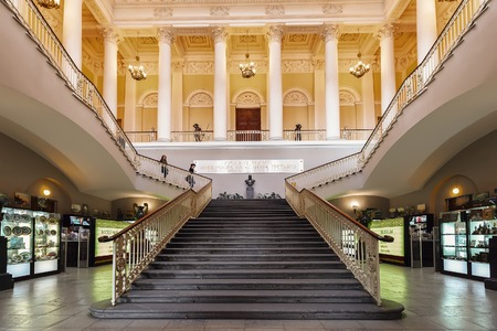 depository: SAINT PETERSBURG, RUSSIA - APRIL 11, 2016: The main staircase in the State Russian Museum. The museum is the largest depository of Russian fine art in St. Petersburg