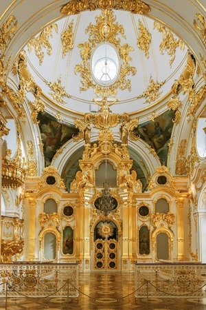 hermitage: ST. PETERSBURG, RUSSIA - APRIL 07, 2016:  Interior of the State Hermitage, the Grand Church of the Winter Palace. Hermitage is one of the largest and oldest museums of art and culture in the world