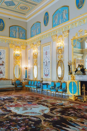 Russian palace: ST. PETERSBURG, RUSSIA - MARCH 17, 2016: Interior of the Catherine Palace in Tsarskoye Selo (Pushkin). It was the summer residence of the Russian tsars, now it is a famous museum
