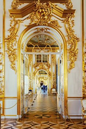 Russian palace: SAINT PETERSBURG, RUSSIA - MARCH 17, 2016: Enfilade of the rooms of the Catherine Palace in Tsarskoye Selo (Pushkin). It was summer residence of the Russian tsars, now it is a famous museum
