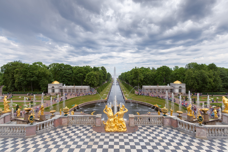 petergof: SAINT PETERSBURG, PETERGOF, RUSSIA - JUNE 02, 2016: Fountains of Lower Gardens, the Sea Canal in Peterhof, near Saint Petersburg. Fountains of Peterhof are one of Russias most famous tourist attractions