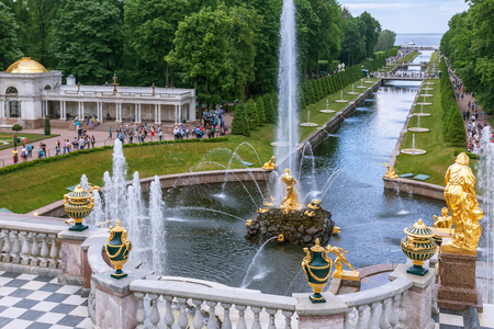 peterhof: SAINT PETERSBURG, PETERHOF, RUSSIA - JUNE 02, 2016: Fountains of Lower Gardens, Sea Canal, Fountain Samson in Peterhof. Fountains of Peterhof are one of Russias most famous tourist attractions