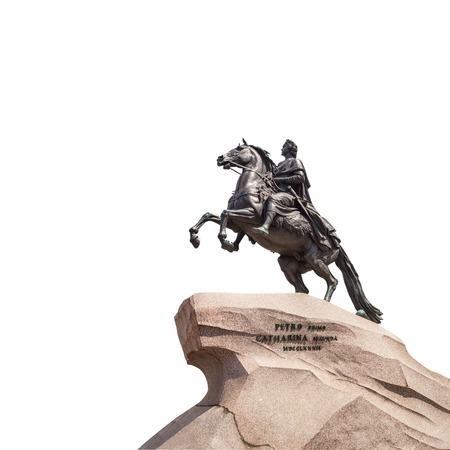 uomo a cavallo: Bronze Horseman - Monument to Peter the Great in Saint Petersburg, created by sculptor Falconet (1 768 one thousand seven hundred and eighty-two), isolated on white background