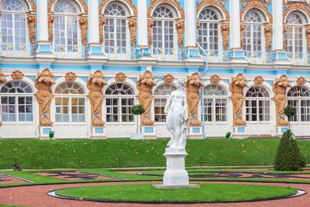 PUSHKIN, ST. PETERSBURG, RUSSIA OCTOBER 02, 2016: Sculpture on the background of the Catherine Palace in Tsarskoe Selo, near St. Petersburg. Editorial