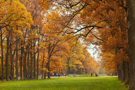 PUSHKIN, ST. PETERSBURG, RUSSIA - OCTOBER 02, 2016: Autumn in the Catherine Park in Tsarskoye Selo. It is a former country residence of the royal family, now it is State Museum-Preserve