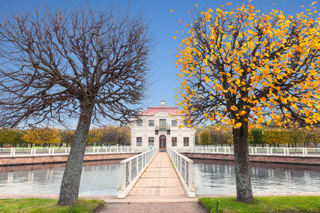 PETERHOF, SAINT PETERSBURG, RUSSIA -OCTOBER 09, 2016: Marly Palace in the Lower Gardens of Peterhof (near St. Petersburg). It was built in 1720-1723 by the architect Johann Braunstein