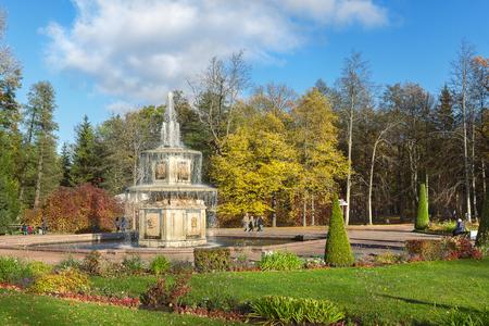 peterhof: PETERHOF, SAINT PETERSBURG, RUSSIA - OCTOBER 09, 2016: Roman fountain in Lower Gardens of Peterhof (suburb of St. Petersburg) in autumn Editorial