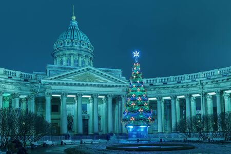 Kazan Cathedral in St. Petersburg, Christmas . Toned