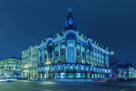 The citys largest bookstore, named House of Books (Singer House) at Christmas illuminations, Nevsky Prospect, St. Petersburg. Toned